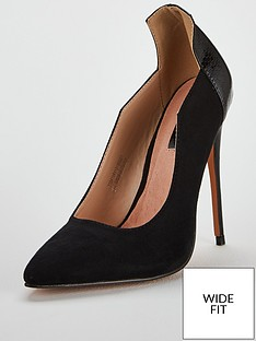 a7130879b56 Lost Ink Wide Fit Amelia Angle Cut Court Shoe - Black