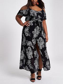 Drop Shipping Get Authentic For Sale Island Plus Print Maxi RI River  Dress Black Pw5w4V