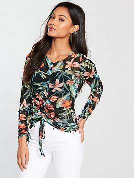 Print by Mesh Long Top Sleeve Ruched V Very  Online Cheap Price Outlet 2018 New 4KSbX