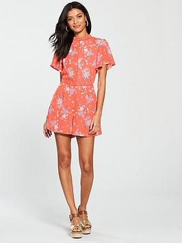 With Credit Card Online Outlet View Floral Provence  High Oasis nbsp Chiffon Neck Playsuit Orange Discount Sale Huge Range Of 4YlLC28