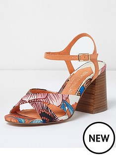 river-island-wide-fit-cross-strap-printed-sandal-orange