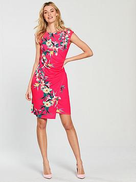 Fern Pink Ruched Tropical Side Wallis  Wrap Dress Professional  Cheap Great Deals tRSqXyBN6