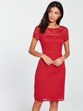 wallis-lace-shift-dress-red