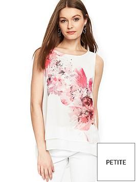 wallis-petite-spray-flower-double-layer-top-white