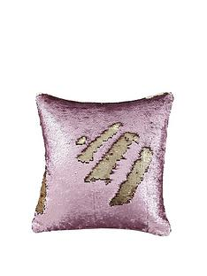 catherine-lansfield-reverse-sequin-cushion-in-rosegold