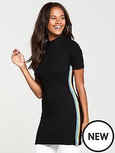 v-by-very-rainbow-trim-longline-top-black