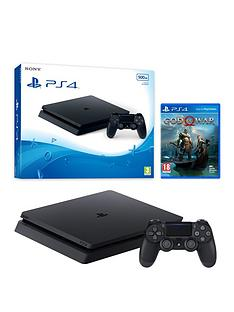 playstation-4-500gb-black-slim-console-with-god-of-war-and-extra-dualshock-controller