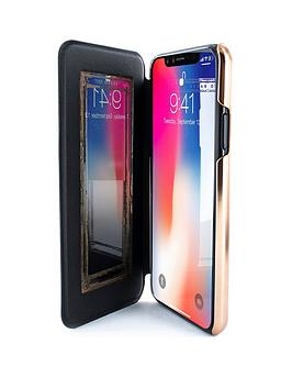 162e02b0a Ted Baker SHANNON Mirror Folio Case for iPhone X - Black Rose Gold ...