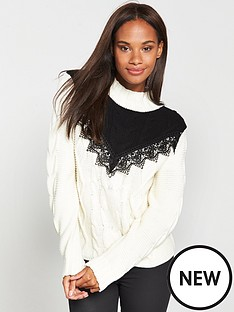 v-by-very-contrast-lace-yoke-trim-cable-jumper-ivoryblack