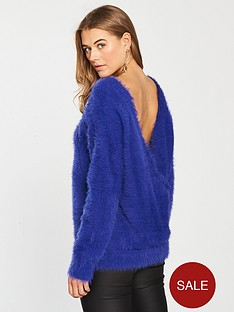v-by-very-fluffy-cross-over-back-batwing-jumper-blue