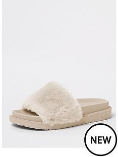 river-island-faux-fur-slide--cream