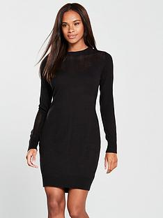 v-by-very-mesh-panel-detail-knitted-dress-black