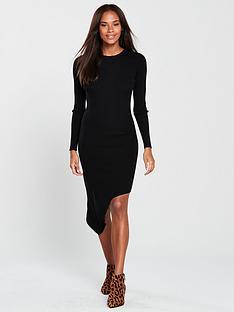 v-by-very-skinny-rib-asymmetric-hem-knitted-dress-black