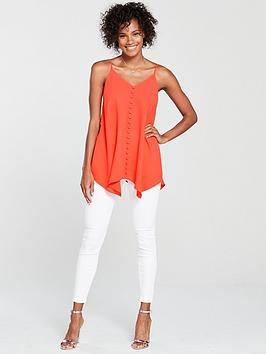 Cami Through V Coral by Very Button Longline nbsp Enjoy For Sale Buy Cheap Low Shipping Hu7Oy1