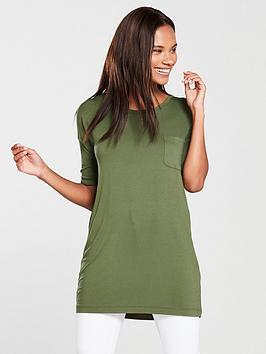 v-by-very-pocket-three-quarter-sleeve-tunic-khaki