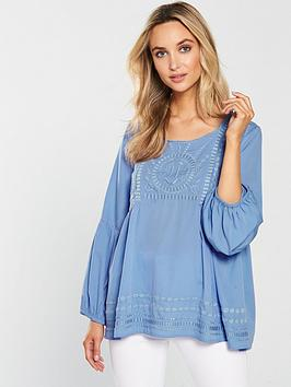 wallis-embroidered-balloon-sleeve-top-blue