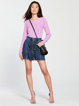 Discount Low Shipping From China Free Shipping Wash Denim  Front Mid Very nbsp by Ruffle Zip Through Skirt V Cheap Sale 100 Original Outlet Store Sale Online Buy Cheap Authentic F6uodR18