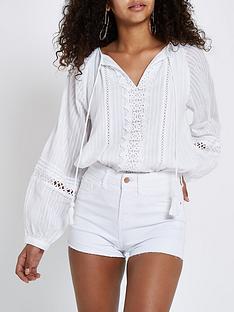 river-island-denim-shorts-white