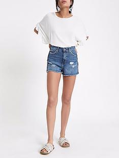 river-island-trim-side-denim-shorts-mid-blue