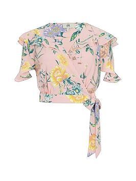 Footlocker Finishline Amazing Petite Floral Petite Ruffle  Pink Top Crop RI fSGOq