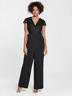 d73a100544 V by Very Lace Top Culotte Jumpsuit - Black