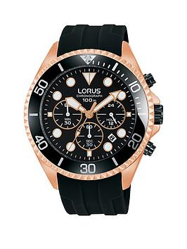 lorus-lorus-black-and-rose-gold-chronograph-dial-black-silicone-strap-mens-watch