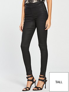43746fcd321d77 V by Very Tall Charley High Waisted Super Skinny Coated Jegging - Black  Coated