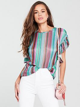 v-by-very-frill-sleeve-plisse-top-stripe