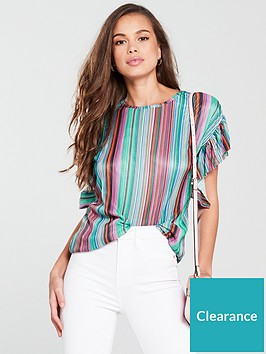 v-by-very-frill-sleeve-plisse-top-stripe