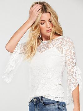Very Top by Ivory Fluted V Sleeve Lace Pay With Paypal Cheap Online Grey Outlet Store Online Outlet For Nice Outlet Real Clearance Limited Edition FePxgQltqb