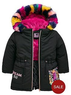 mini-v-by-very-girls-rainbow-sequin-multi-faux-fur-parka-coat-black