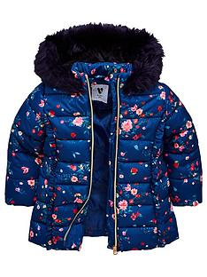 c4020b8c4159 Mini V by Very Girls Floral Padded Jacket - Navy