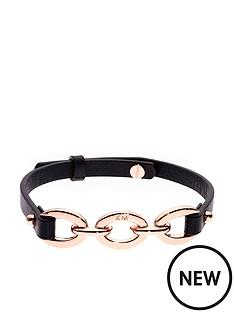 karen-millen-chain-link-leather-bracelet-blackrose-gold