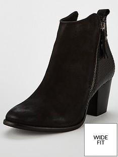 1b5a4bd53c Dune London Wide Fit Pontoon Western Side Zip Boot - Black
