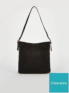 V by Very Joanne Leather Slouch Shoulder Bag - Black 043e9252071be