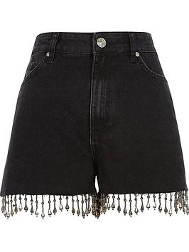 Annie Shorts Hem Washed Black Island Island Beaded River River Clearance Footlocker jBfFha