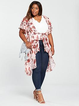 Good Selling Online Clearance Really Curve Print by Kimono Blouse Hem Dipped Very Longline  V gkLKycs6t