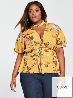 v-by-very-curve-printed-choker-wrap-blouse-yellow-print