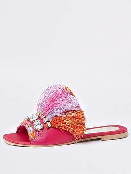 Slides Tassel River Raffia Island Pink  Exclusive Online Cheap Best Sale Fast Delivery Cheap Price zL8SV