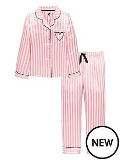 v-by-very-satin-candy-stripe-embroidered-heart-pyjama