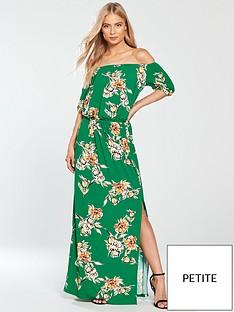 v-by-very-petite-bardot-jersey-maxi-dress-green-print