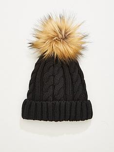v-by-very-rachael-cable-knit-pom-pom-beanie-hat-black