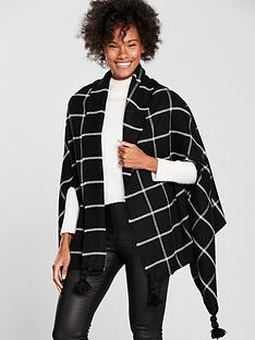v-by-very-nancy-tassel-scarf-cape-blackwhite