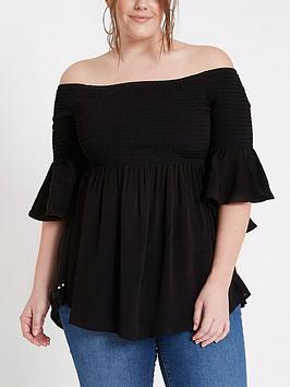 Looking For Sale Online Outlet Best Bardot RI Shirred Black Plus  Top Visit Online Sale 2018 Outlet Inexpensive 8AEmEwua3