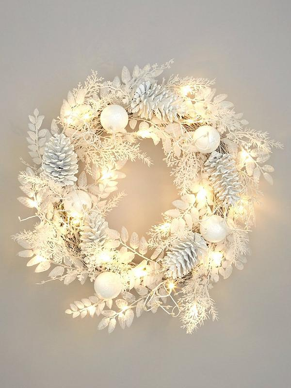 wholesale dealer b1e00 317a8 Pre-Lit Winter White Christmas Wreath