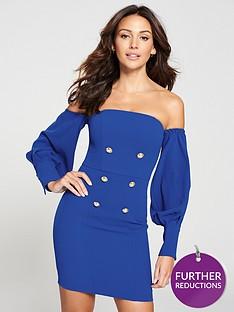 michelle-keegan-bardot-tuxedo-dress-cobalt