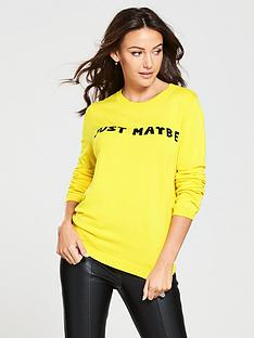 michelle-keegan-just-maybe-slogan-knitted-jumper-yellow