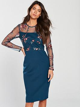 phase-eight-felice-embroiderednbspdress-peacock
