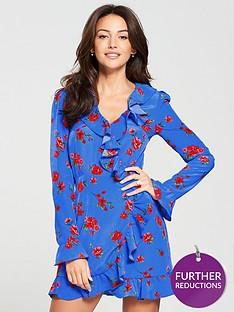 michelle-keegan-ruffle-wrap-tea-dress-floral