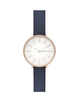 skagen-karolina-rose-gold-tone-case-with-blue-leather-strap-ladies-watch